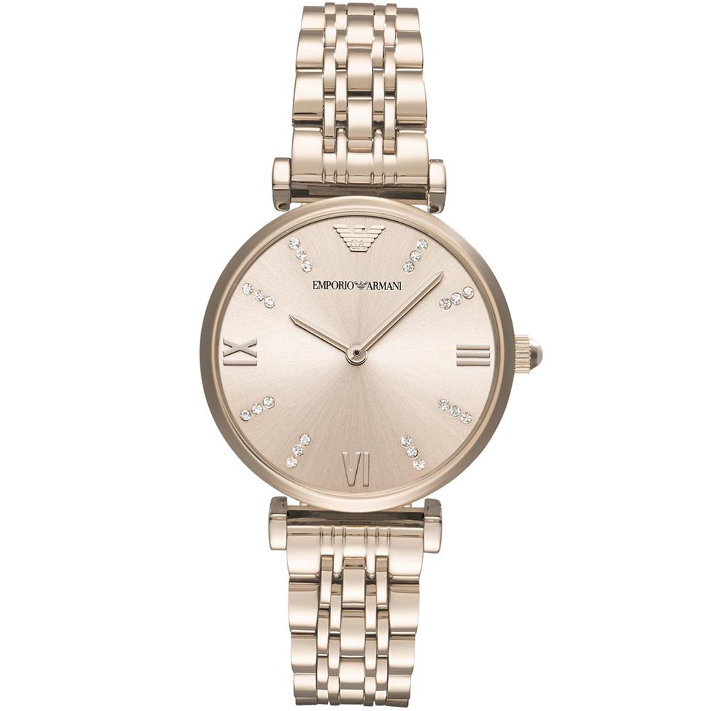 Emporio Armani亞曼尼晶鑽閃耀時尚女腕錶-32mm/玫瑰金色