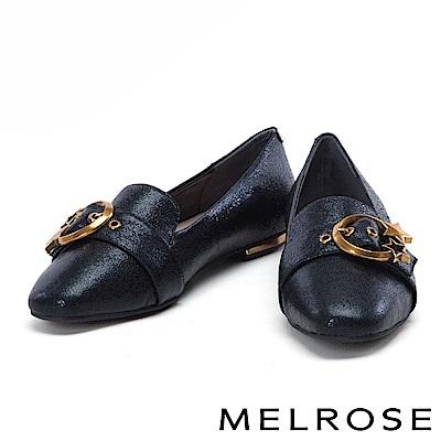 平底鞋 MELROSE 金屬星星圓釦啞光牛皮尖頭平底鞋-黑