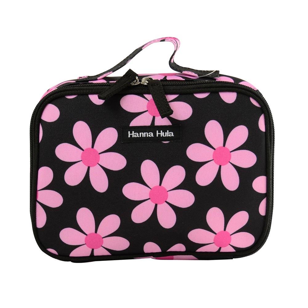 【Hanna Hula 日本】多用途隨身包-裝化妝品/衣物/當媽媽包裝尿片等(小花黑)