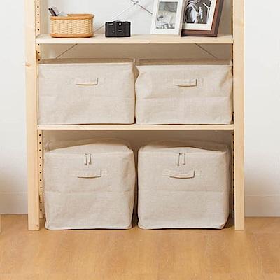 創意達人森棉麻深型+附蓋型收納箱(4件)