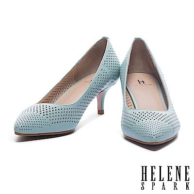 高跟鞋 HELENE SPARK 摩登魅力雙形大小沖孔拼接羊皮尖頭高跟鞋-綠