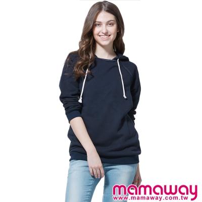 孕婦裝-哺乳衣-拉克蘭袖正反拼接孕哺帽T-共二色-Mamaway