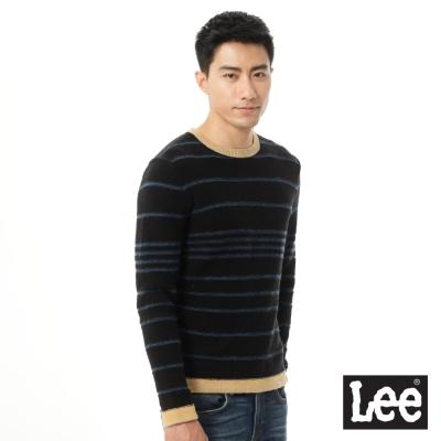 Lee 長袖條紋圓領毛衣-男款-黑