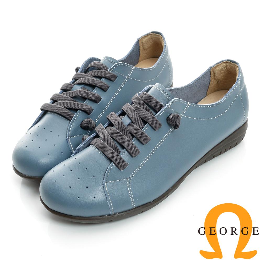 GEORGE-免綁帶防滑加厚真皮平底休閒鞋-藍色