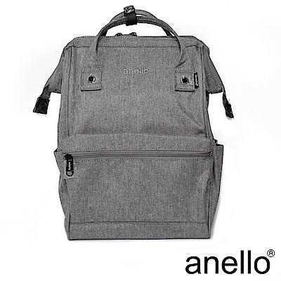 日本正版anello 高雅混色紋理 刺繡LOGO後背包〈灰色GY〉L