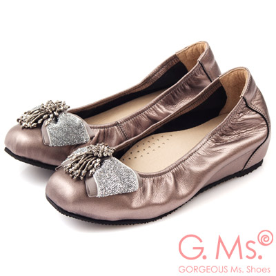 G.Ms. MIT系列-牛皮串珠金蔥布蝴蝶結方頭內增高鞋-耀眼銀