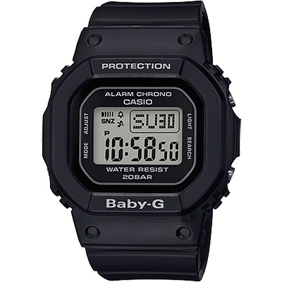 CASIO 卡西歐 Baby-G 人氣經典電子錶-黑/44.7mm
