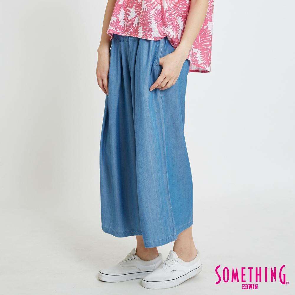 SOMETHING 天絲®打摺剪接闊腿褲-女-重漂磨