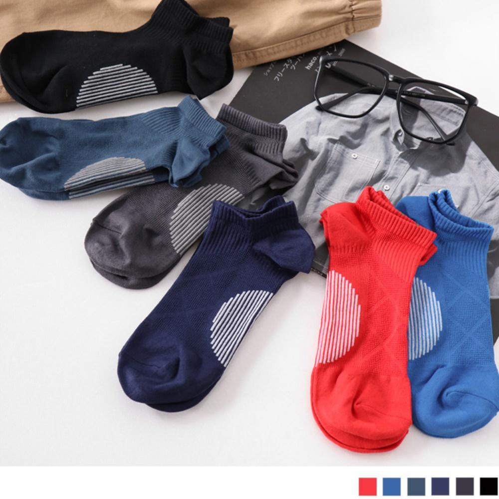 多色足弓加強薄款船型運動襪.男6色(3入198)-OB大尺碼