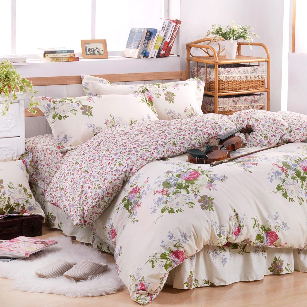 Saebi-Rer-花妍戀曲 台灣製活性柔絲絨加大六件式床罩組