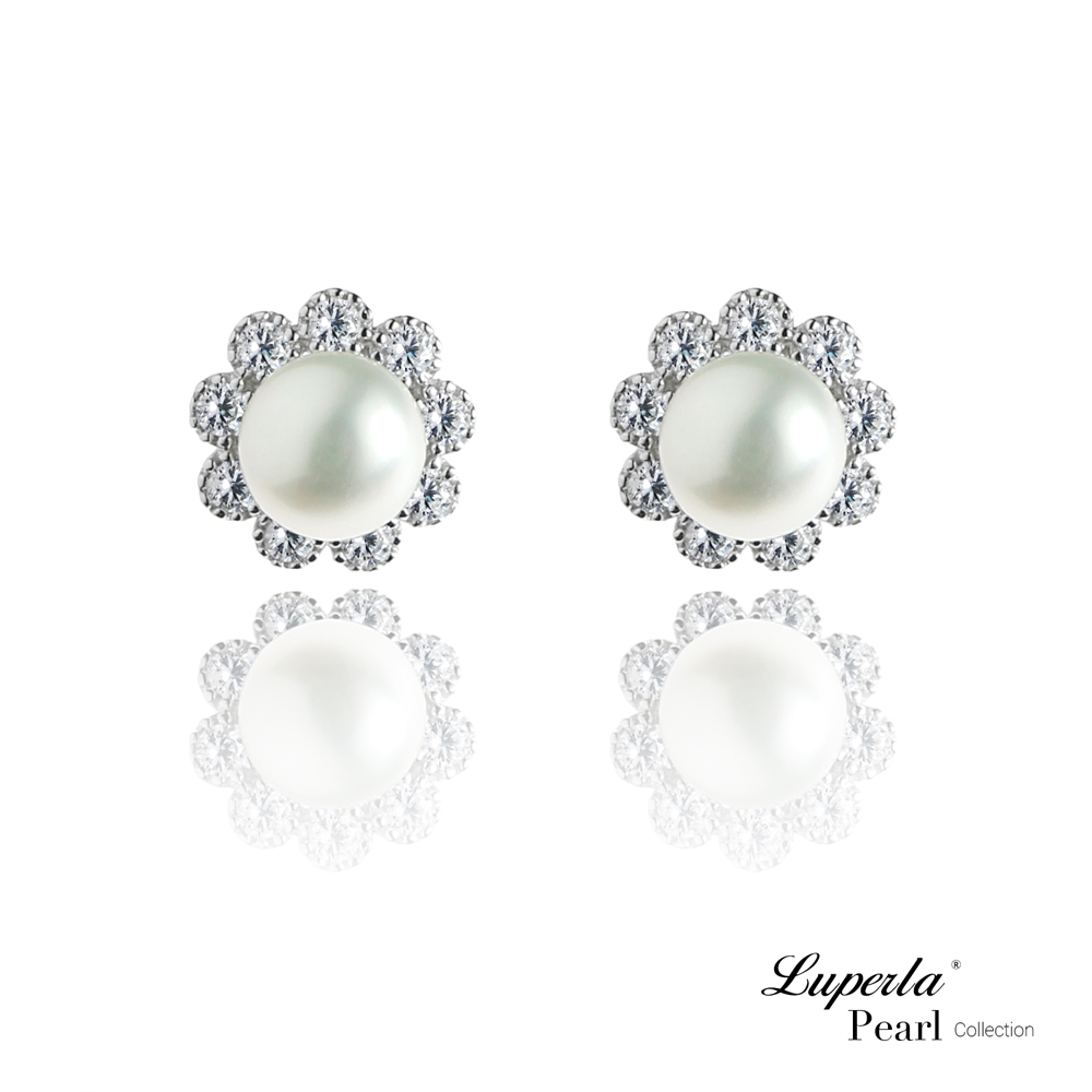 大東山珠寶 純銀晶鑽珍珠耳環-潔白之心