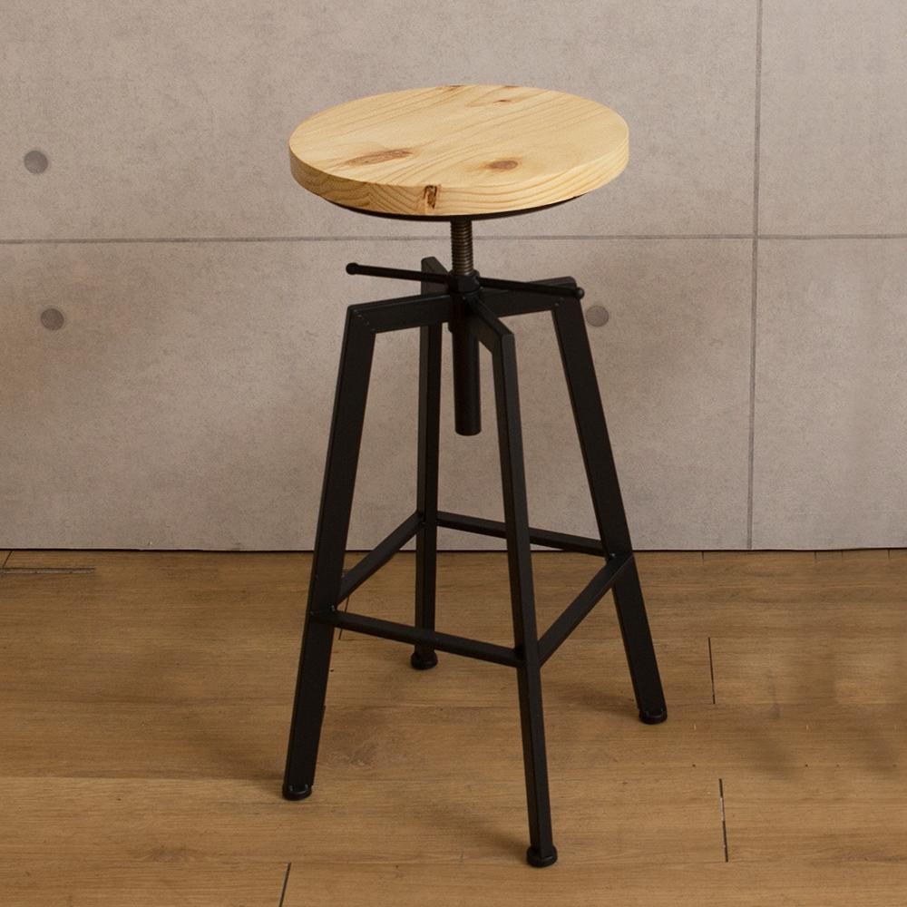 微量元素-手感工業風美式吧台椅/原木色