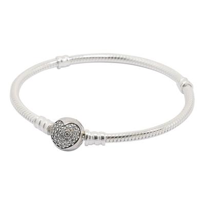 Pandora 潘朵拉 鑲鋯愛心扣頭純銀手鍊手環
