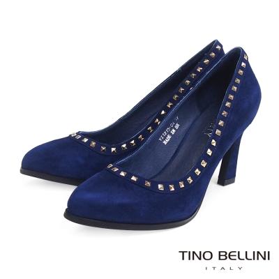 Tino-Bellini-個性時髦鉚釘鑲嵌跟鞋-藍