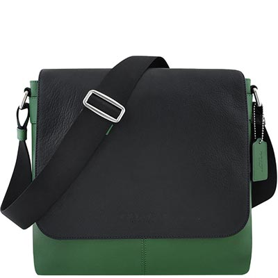 COACH-綠色皮革壓紋斜背包