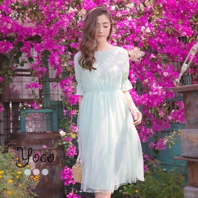 東京著衣-yoco 氣質蕾絲拼接點點網紗洋裝-XS.S.M(共三色)