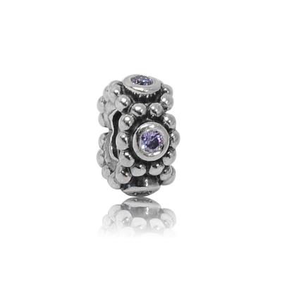 Pandora 潘朵拉 紫色鑲鋯環狀細扁珠 純銀墜飾 串珠