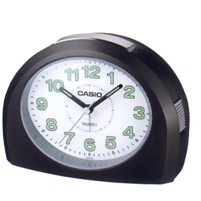 CASIO  1/2橢圓流線感鬧鐘(黑/ 藍綠/ 銀灰色)