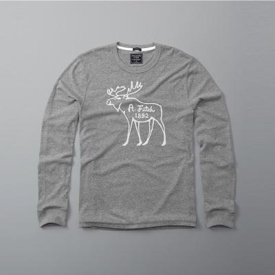 A&F 經典刺繡大麋鹿設計長袖T恤-灰色 AF Abercrombie
