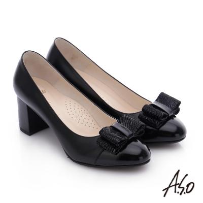 A.S.O 注目嬌點 全真皮蝴蝶結窩心粗跟高跟鞋 黑色