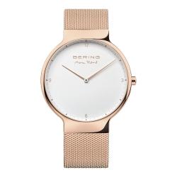 BERING-MAX RENE設計師聯名款 白錶盤x玫瑰金 米蘭錶帶40mm
