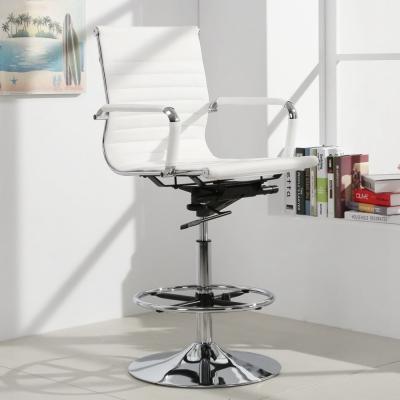LOGIS邏爵-安菲米皮革低背高吧椅 梳妝椅 辦公椅 事務椅-白色