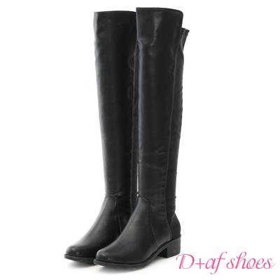 D+AF 美腿焦點.彈力布拼接低跟膝上長靴*黑