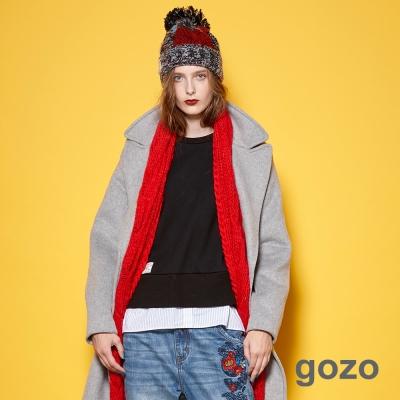 gozo 休閒隨性風直條撞色拼接長袖上衣 (二色)
