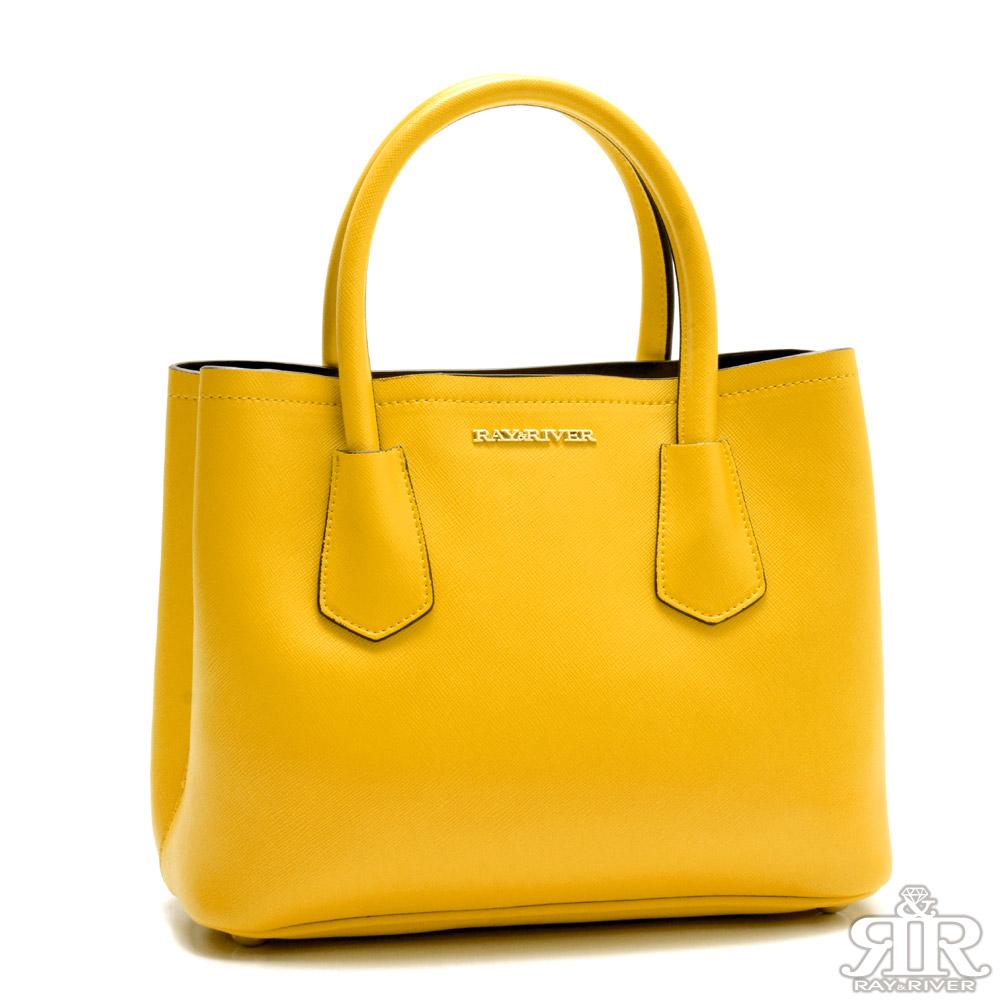 2R 十字紋防刮牛皮Beauty Bag 甜心黃