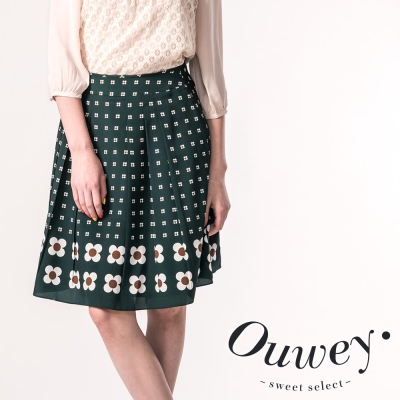 OUWEY歐薇-復古優雅滿版複製圖秋雪紡壓褶裙