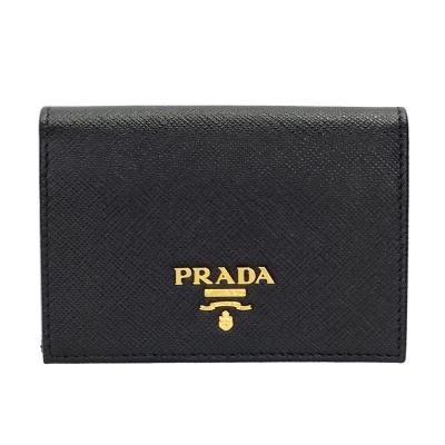 PRADA Saffiano經典浮雕LOGO防刮牛皮對開信用卡/名片夾 (黑色)