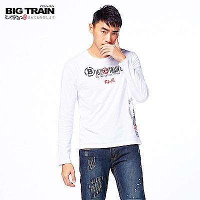 BIG TRAIN 日式潮風圓領長袖-男-白色