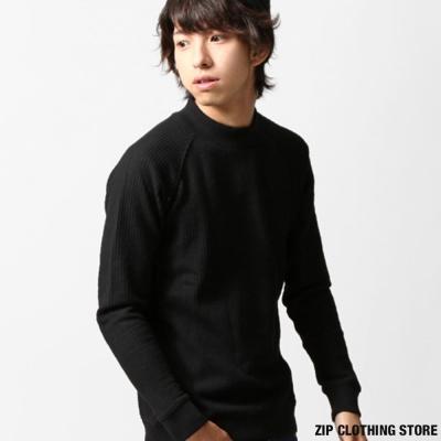 鬆餅織中高領長袖T恤 ZIP日本男裝