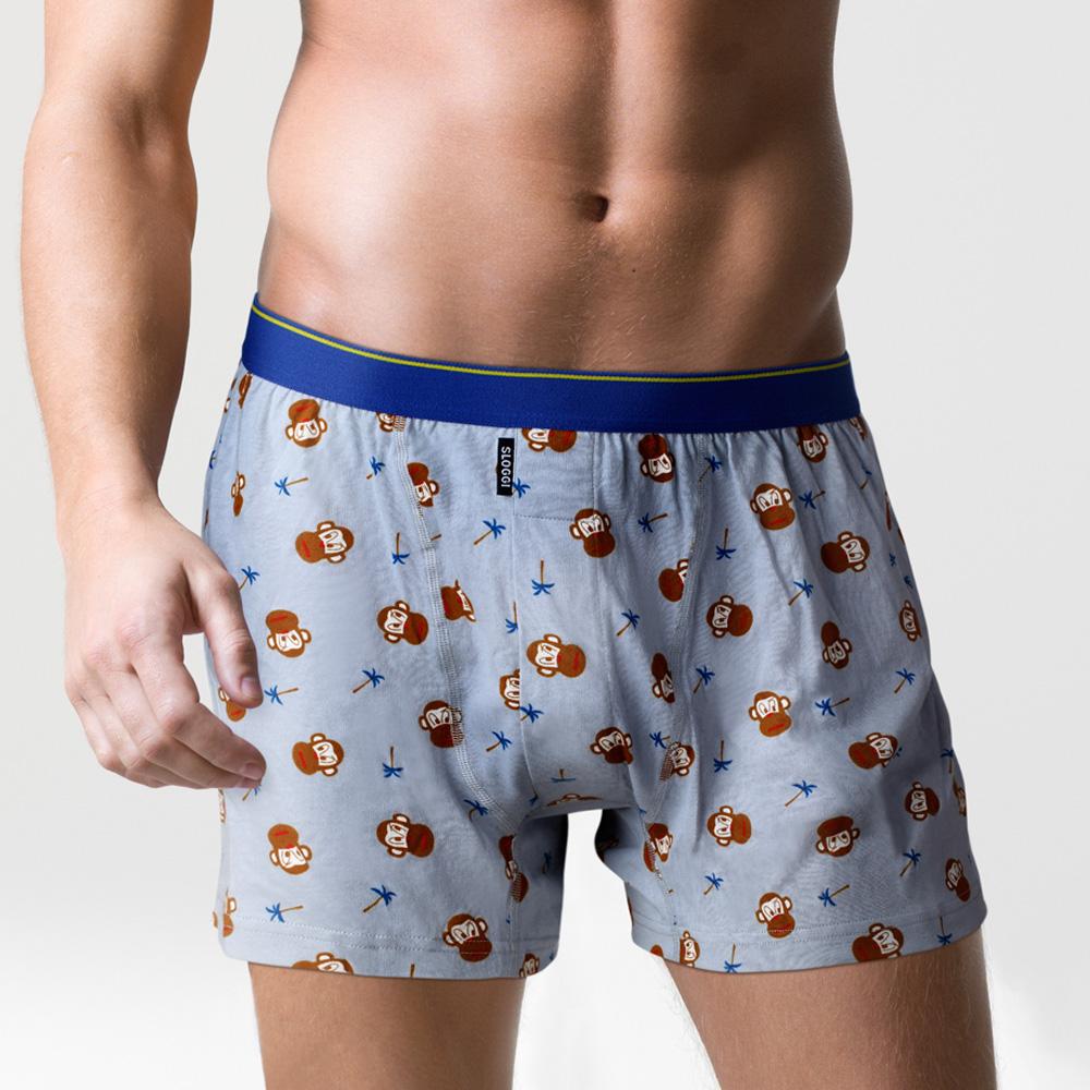 sloggi Men- 寬鬆系列 Monkey小猴印花針織平口內褲 M-XL (灰)