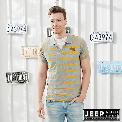 JEEP清新細條紋短袖POLO衫-橘灰