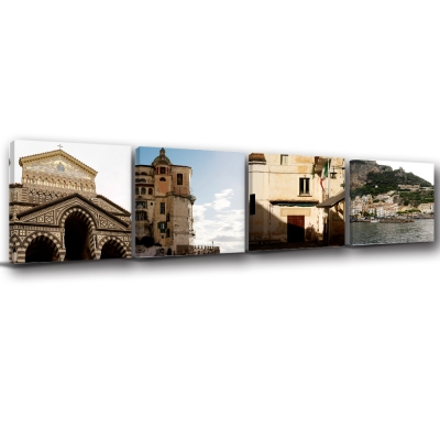 美學365-多聯方形建築風景地標餐廳民宿掛畫-世界角落-40x40cm