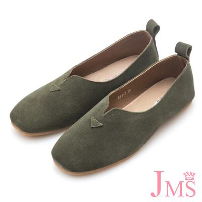 JMS-秋絮舒適簡約真皮平底休閒鞋-墨綠色