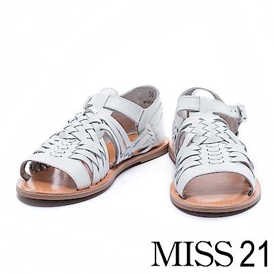 涼鞋 MISS 21 自然樸實編織造型全真皮平底涼鞋- 白