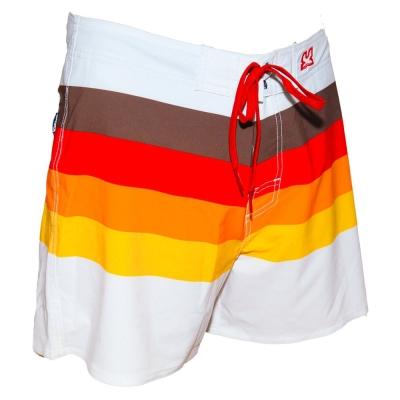 WAXX 多色條紋漸層紅高質感吸濕排汗男性海灘褲