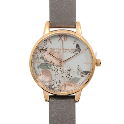 Olivia Burton 蝴蝶牡丹花園 灰色真皮錶帶 玫瑰金錶框-30mm