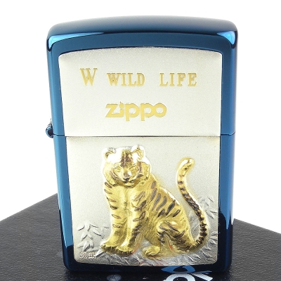 ZIPPO 日系~WILD LIFE-老虎圖案鍍鈦純銀貼片打火機