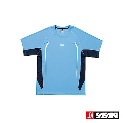 SASAKI 夜間反光抗紫外線長效性吸排功能圓領短衫-男-鮮藍/丈青