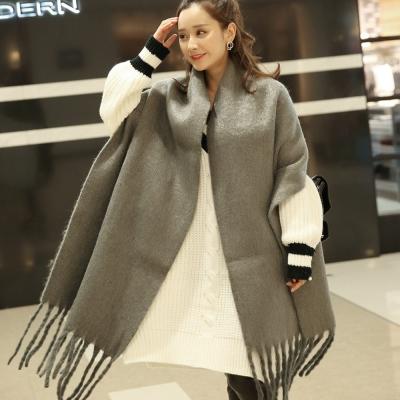 梨花HaNA-韓國冬日暖陽純色優雅長流蘇羊絨超厚長圍巾灰色