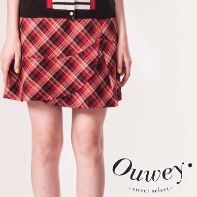 OUWEY歐薇-格紋荷葉擺短裙