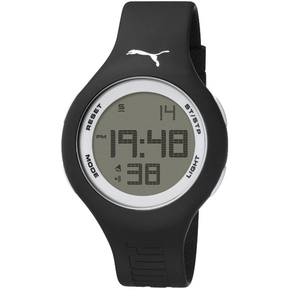 PUMA 陽光信號電子腕錶-黑x白/44mm