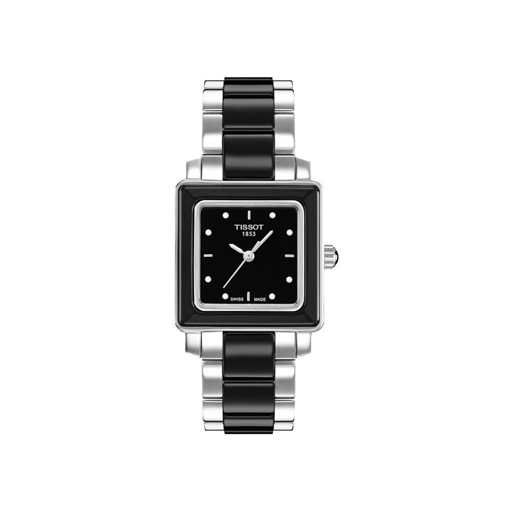 TISSOT T-Cera 方陶瓷系列真鑽腕錶-黑/26mm