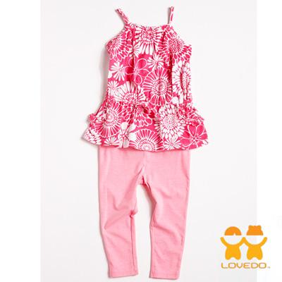 【LOVEDO-艾唯多童裝】溫暖花朵 細肩帶背心長褲兩件組套裝(粉)