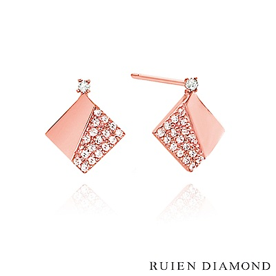 RUIEN DIAMOND 韓國輕珠寶 飾品 配件14K玫瑰金 耳環 LE142
