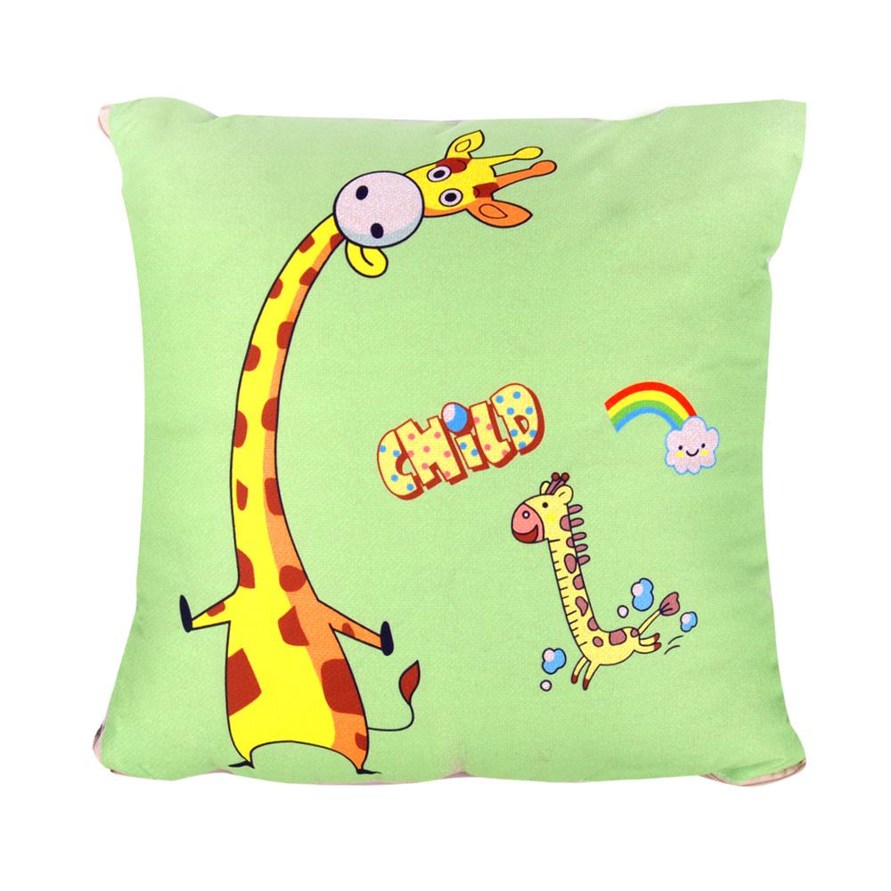 童趣插畫風 舒適兩用棉被抱枕/靠枕/午睡枕 (長頸鹿)