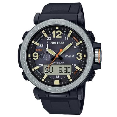 PROTREK粗曠威武戶外活動高亮度照明登山錶(PRG-600-1)銀框X黑/57mm